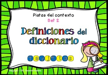 Spanish Context Clues Task Cards SET 2: Dictionary definitions