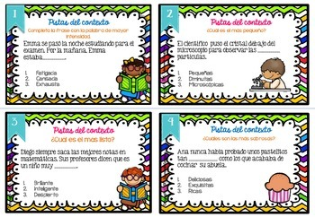 Spanish Context Clues Task Cards SET 3: SHADES OF MEANING