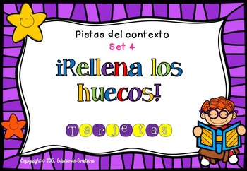 Spanish Context Clues Task Cards SET 4: FILL IN THE BLANKS