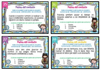 Spanish Context Clues Task Cards   SET 6: Comparison and Contrast