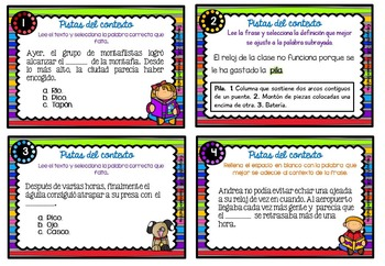Spanish Context Clues Task Cards   SET 7: Mixed Clues