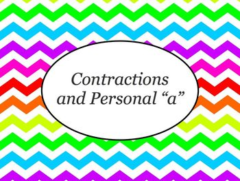 Spanish Contractions & Personal A PowerPoint Slideshow Presentation