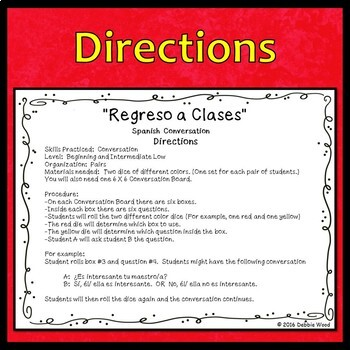 Back to School Spanish Conversation Activity (Regreso a Clases)
