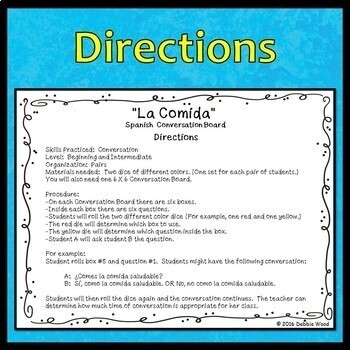 Spanish Speaking Activities Food (La Comida)