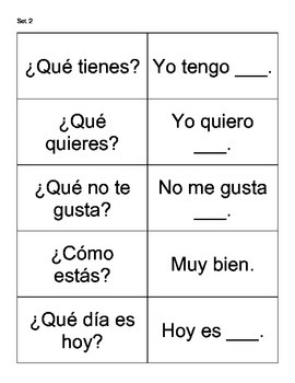 FREE Spanish Conversation Flash Cards