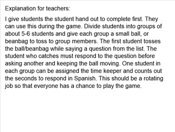 Spanish Conversation Game with student hand-out
