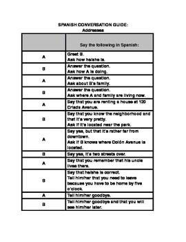 Spanish Conversation Guide - Addresses
