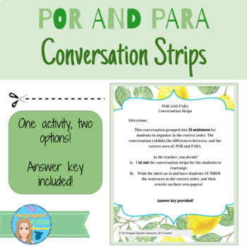 Spanish Por and Para Conversation Strips Reading Activity