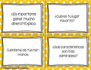 Spanish Conversation Task Cards Present Tense - Spanish Speaking Practice