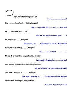 Spanish Conversation prompt sheets.