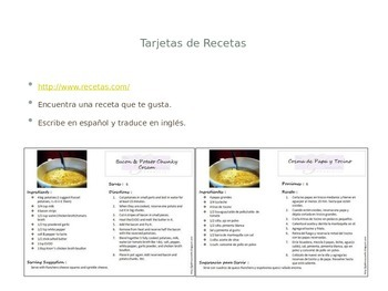 Spanish  - Cooking Powerpoint and Video