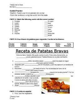 Spanish Cooking Vocabulary - Guided Practice Recipes