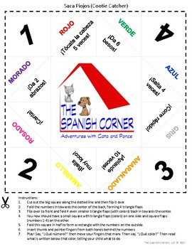 Spanish Cootie Catcher (Saca Piojos) with Numbers, Colors, Actions