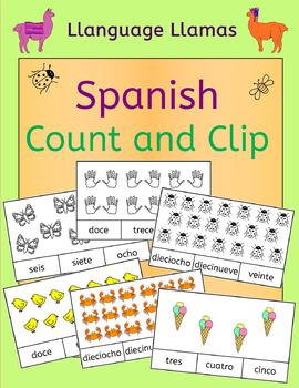 Spanish Numbers Numeros Count and Clip - practice number w