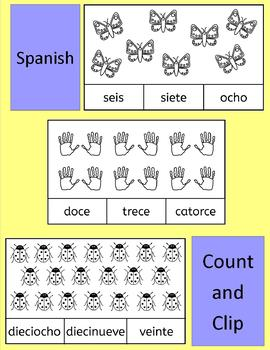 Spanish Numbers Numeros Count and Clip - practice number words to 20