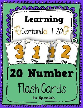 Numbers Flash Cards Counting 1-20 in Spanish