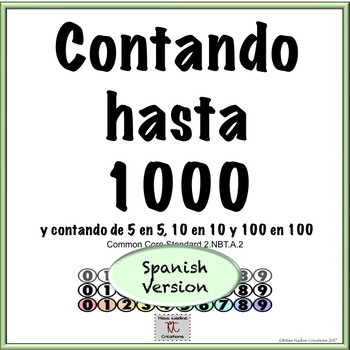 Spanish:Counting within 1000- 5 Centers Ready to Use- 2nd Grade 2.NBT.A.2
