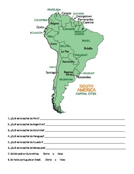 Spanish Countries & Capitals Worksheet