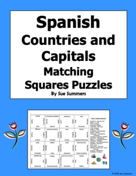 Spanish Countries and Capitals 4 x 4 Matching Squares Puzzle