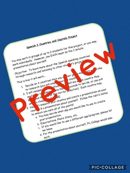 """Spanish Countries and Capitals Rubric - Includes a """"Getting to Know You"""" Portion"""