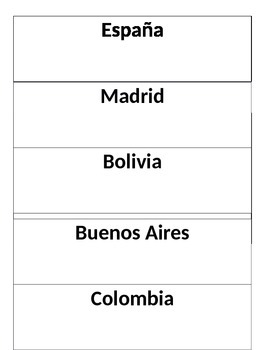 Spanish Countries and Capitals Scavenger Hunt