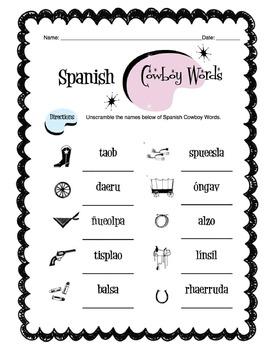 Spanish Cowboy Western Worksheet Packet