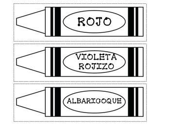 Spanish Crayola Crayon Labels