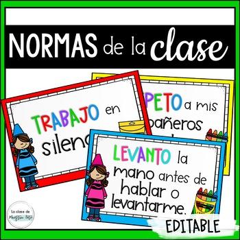 Spanish Crayons Decor Editable Rules / Normas del salón decoración Creyones