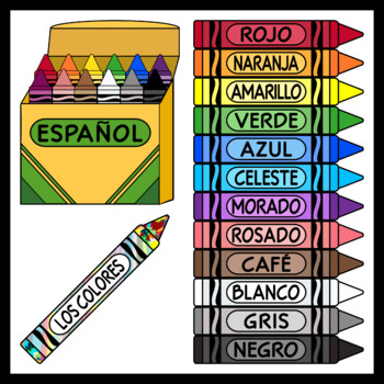Spanish Crayons / Spanish Colors (High Resolution)