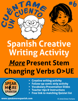 Spanish Creative Writing #6 * Escribir * MORE Present Stem Changers O>UE *Verbos