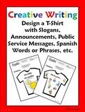 Spanish Creative Writing T-Shirt Activity - Design and Label 1 T-Shirt