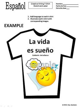 Spanish Creative Writing T-Shirt Activity - Design and Label 1 T-Shirt