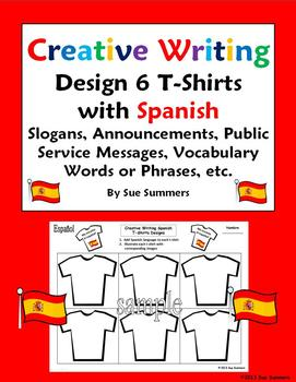 Spanish Creative Writing T-Shirt Activity - Design and Label 6 T-Shirts