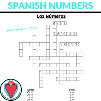 Spanish Crossword Bundle - Greetings, Calendar, Numbers, Colors & More!