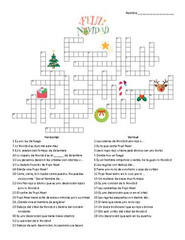 Spanish - Crossword - Christmas (Navidad)