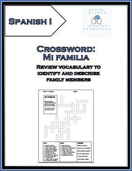 Spanish Crossword, Family Vocabulary, Spanish 1