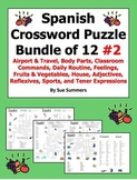 Spanish Crossword Puzzle BUNDLE of 12 - Airport, Body Parts, and More