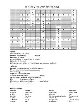 Spanish Crossword Puzzle Package