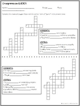 Spanish - Crossword and Cryptogram with QUERER