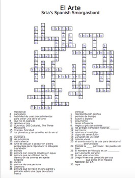 Spanish Crossword - art