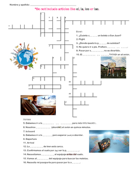 Spanish Crossword for travel vocabulary (Avancemos 2 U1L1)