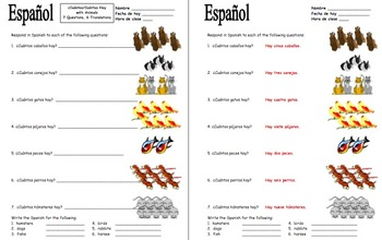 Spanish Cuantos Hay with Numbers and Animals Worksheet by Sue Summers