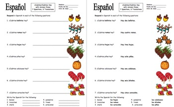 Spanish Cuantos Hay with Numbers and Autumn Items Worksheet - El Otoño