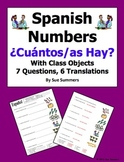 Spanish Cuantos Hay with Numbers and Classroom Objects Worksheet