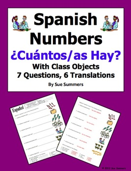 spanish cuantos hay with numbers and classroom objects worksheet by sue summers. Black Bedroom Furniture Sets. Home Design Ideas