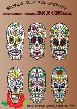 Spanish Cultural Activity: Make your own Dia De Muertos colourful skulls