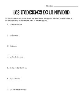 Spanish Cultural Reading:  Christmas - Present Tense