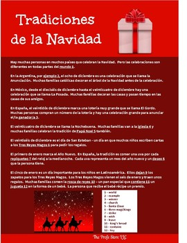 Spanish Cultural Reading:  Christmas - Present Tense