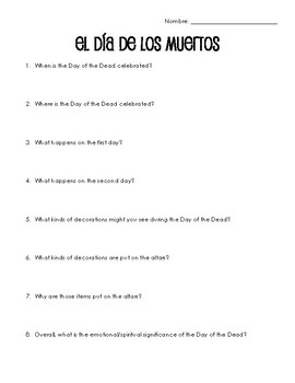 Spanish Cultural Reading:  Day of the Dead - Present Tense