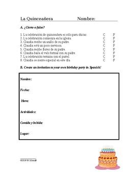 La Quinceañera Lectura y Cultura: Spanish Cultural Reading + Worksheet